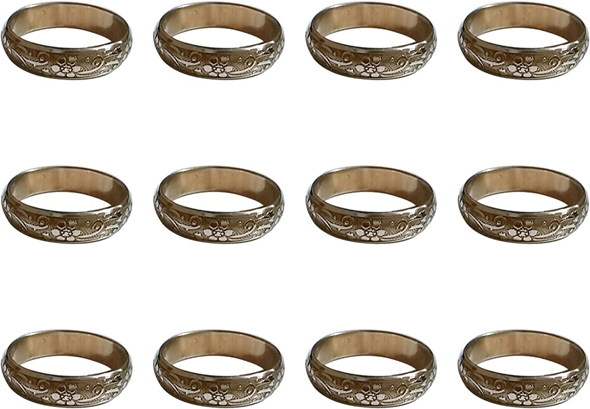 ARN Craft Handmade Gold Napkin Rings Set Of 12 Engraved Brass Design For Home Kitchen Dining Room Table CW 11 12