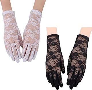 2 Pairs Sheer Gloves Wrist Length Gloves Tulle Lace Bridal Dress Gloves Wedding Bride Accessories for Women Ladies (White...