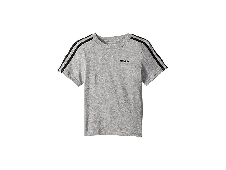 Image of adidas Kids 3-Stripe Tee (Little Kids) (Grey Heather) Boy's Clothing