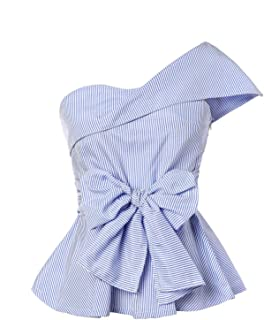 Women's Summer Slim Fit Striped Foldover One Shoulder Bow Tie Front Cap Sleeve Peplum Ruffle Tops Shirt Blouse Petite