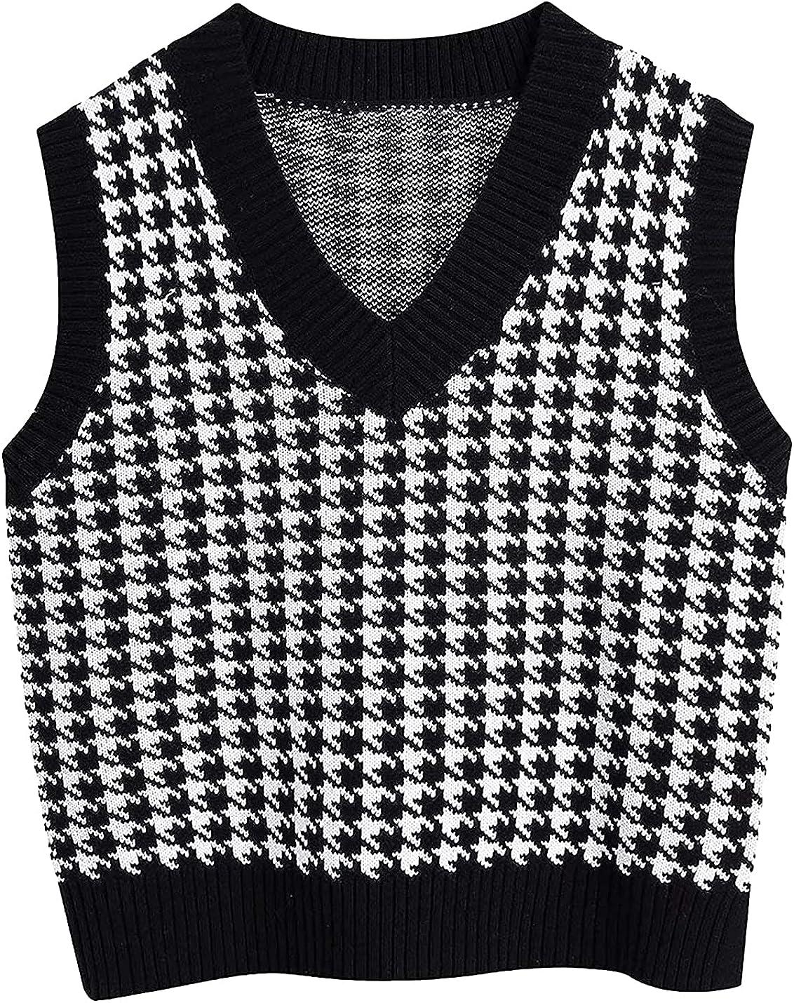 Peaceglad Womens V Neck Sweater Vest Houndstooth Pattern Knit Sleeveless Loose Uniform Waistcoat Pollover Knitwear Tank Tops