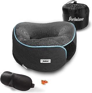 Almohada de Viaje Viscoelástica (Memory Foam) - Ajustable con Velcro - Soporte de 360 Grados para Cuello y Hombros - Suave, Transpirable, Material Plegable, Funda Extraíble