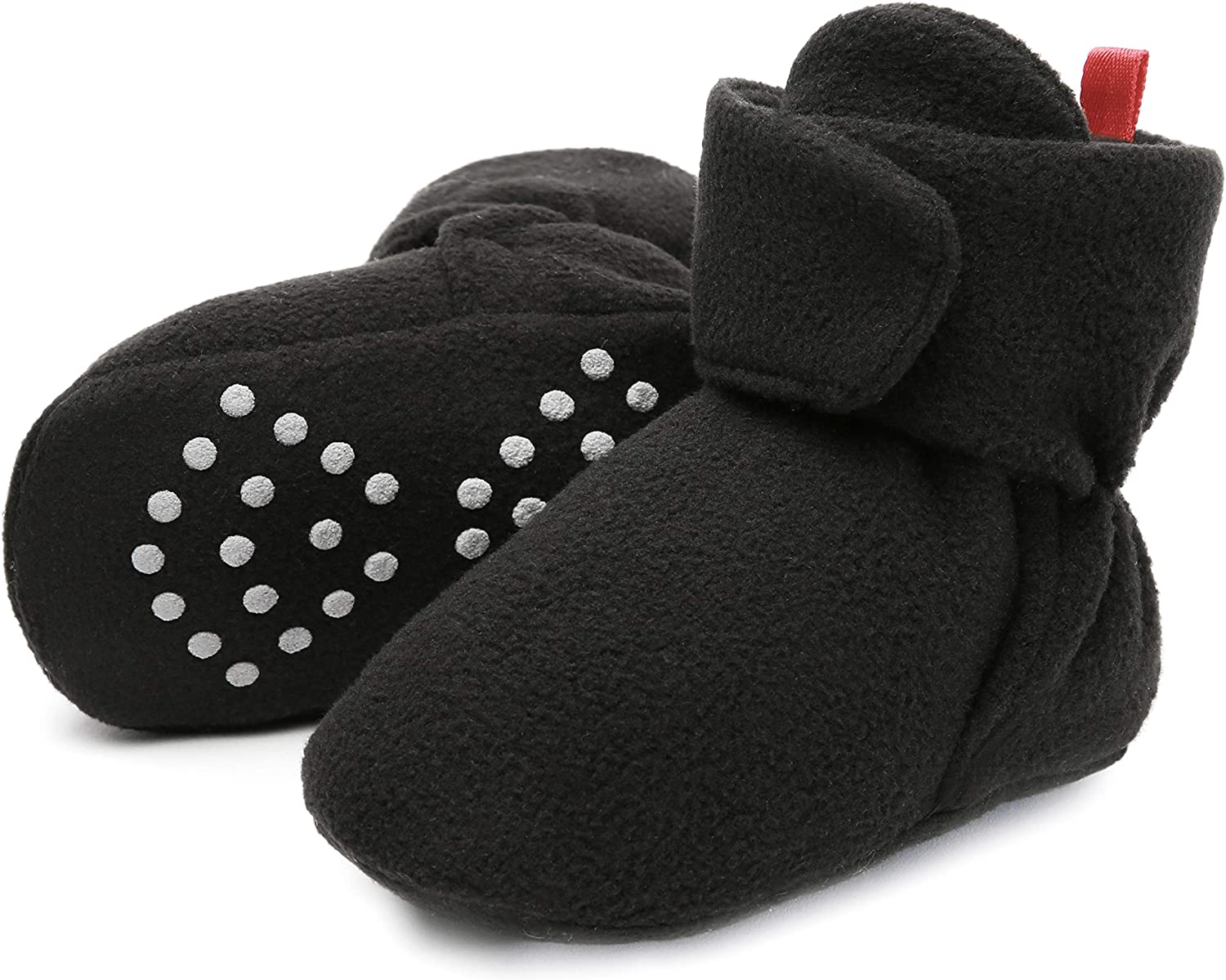 Baby Fleece Booties Newborn Unisex Booties Non-Slip Newborn Toddler First Walkers Warm Shoes House Slippers for Baby Boys & Baby Girls Toddlers