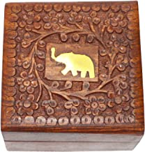 FIGO INC 4 Inch Jewelry Box Novelty Item,Unique Artisan Traditional Hand Carved Rosewood Jewelry Box from India