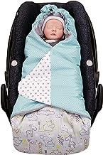 ULLENBOOM  Einschlagdecke Babyschale Safari Pfefferminz Made in EU - Babydecke für Autositz z.B. Maxi Cosi , Babywanne oder Kinderwagen, ideale Decke für Babys 0 bis 9 Monate