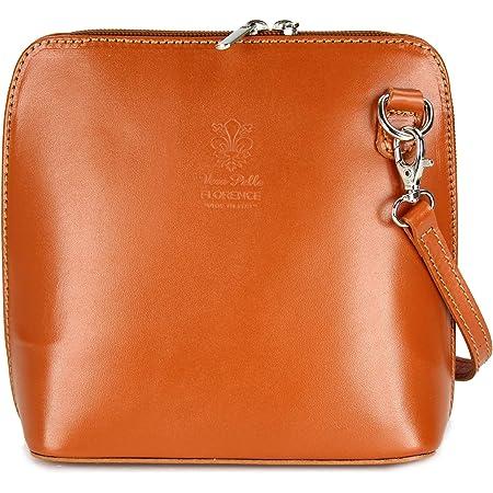 Bellissimo BELLI ital. Ledertasche Damen Umhängetasche Handtasche Schultertasche - 17x16,5x8,5 cm (B x H x T) (Cognac)