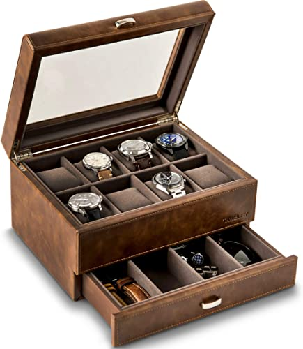 TAWBURY 8 Watch Case with Drawer - Collection Watch Box for Large Watches | Wrist Watch Display Case | Brown PU Leath...