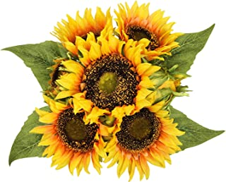Dolicer Artificial Sunflower Bouquets, Lifelike Silk Sunflowers with 7 Floral Heads, Artificial Silk Flowers, Bride and Groom Holding Flowers for DIY Wedding Office Party Garden Hotel Home Decoration