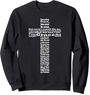 Amazing Grace Lyrics In a Cross Shape - Christian Sweatshirt
