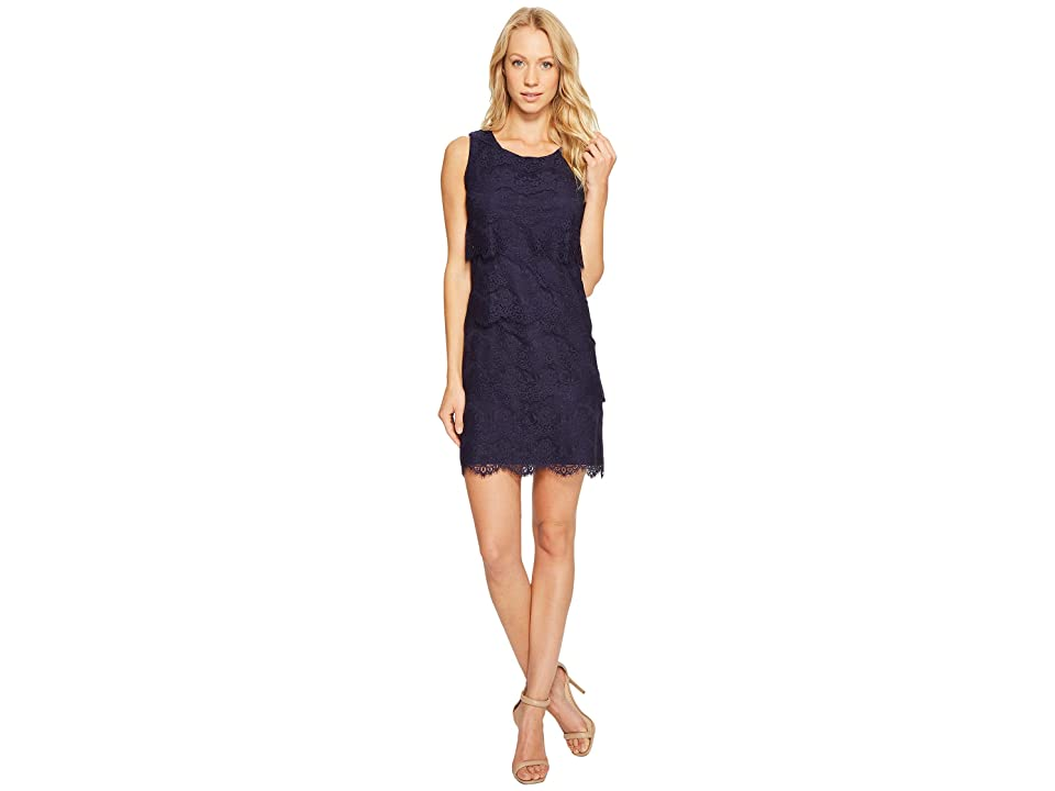 Jessica Simpson Tiered Lace Dress JS4R4533 (Navy) Women