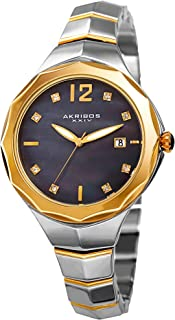 Akribos Xxiv Casual Watch Analog Display For Women Ak932Ttgb, Silver Band, Stainless Steel Strap