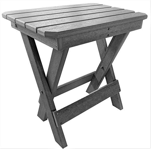DuraWeather Poly Folding End Table 21 X14 In Driftwood Grey