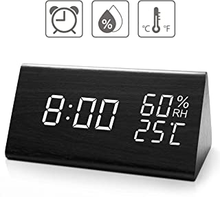 TrophyRak Digital Alarm Clock, with Wooden Electronic LED Time Display, 3 Alarm Settings,