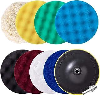 Car polishing Pad Kit, 10pcs 7-Inch Sponge Buffing Pads for Car Foam Drill, Car Care Polisher Buffing Kit for Waxing, Polishing, Sealing Glaze
