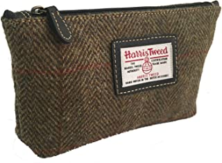 Ladies Harris Tweed Cosmetic/Make Up Bag in a choice of Colours and Design (Brown)