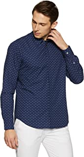 Casual Terrains Men's Tailored Slim-Fit Geometric Shirt with Hidden Placket