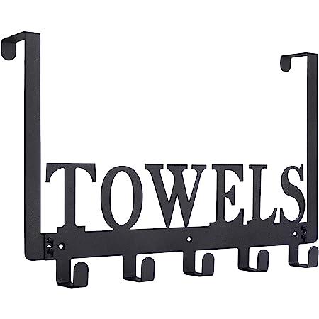 Over The Door Hooks, Towel Holder for Bathroom, Door Mount Towel Rack Towel Hooks for Bedroom Kitchen Pool Beach Towels Bathrobe Wall Mount Hang on The Door Cabinet Cupboard Metal Sandblasted (Black)