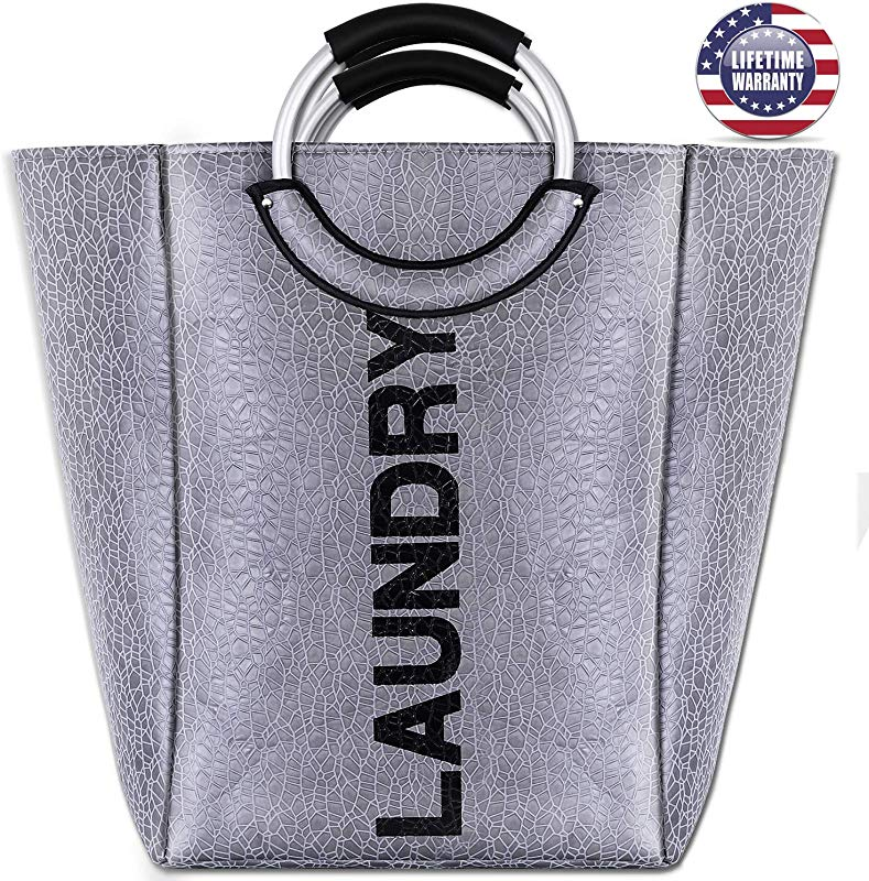 Seckon Big Laundry Bag Basket Waterproof Surface Portable Hamper With Aluminum Handles Grey Fashion Design Laundry Storage