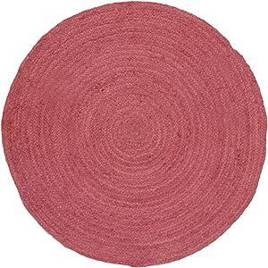 HAMID Alfombra Yute Alhambra Color Cereza- Alfombra Redonda 100% Fibra de Yute (Cereza, 100x100cm)