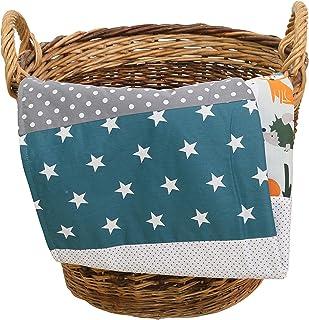 Colcha para bebé de ULLENBOOM ® con bosque, verde, azul (manta de arrullo para bebé de 70x100 cm, ideal colcha para el cochecito; apta alfombra de juegos)