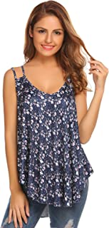 OD'lover Women's Floral Print Loose Casual Flowy Tank Top