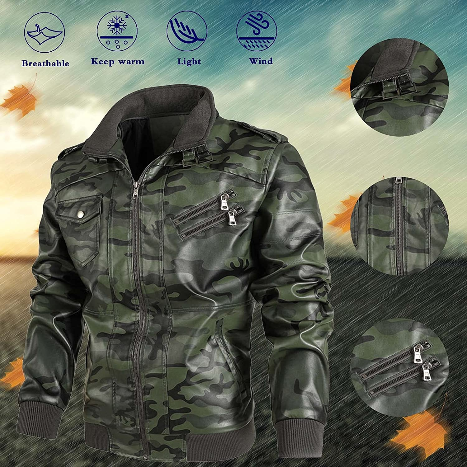 Leather Jacket Mens - Real Lambskin Leather Distressed Motorcycle JacketCoat Outwear