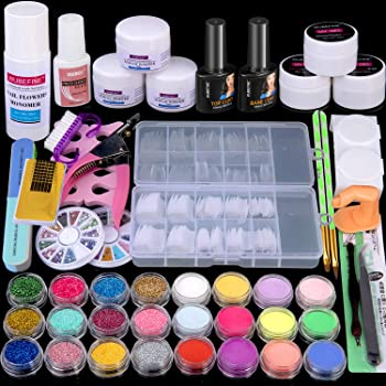 Acrylic Nail Kit Acrylic Powder Liquid Brush Glitter Clipper File Tips Gel Nail art Tools Kit Professional Acrylic Nail Set