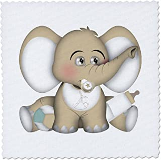 3dRose Cute Beige and White Baby Elephant with A Bottle and Pacifier-Quilt Square, 6 by 6-inch (qs_222569_2)
