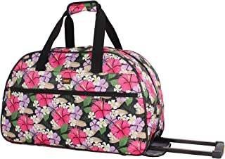 Best Designer Carry On Luggage Collection - Lightweight Pattern 22 Inch Duffel Bag- Weekender Overnight Business Travel Suitcase with 2- Rolling Spinner Wheels (Tropic) Review