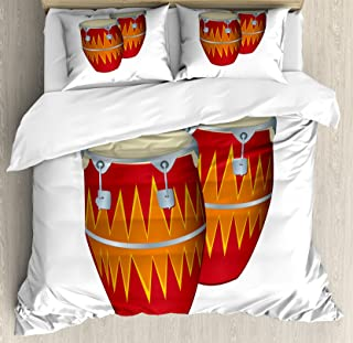 Lunarable Music King Size Duvet Cover Set, Funky African Cuban Music Two Congas Tumbadora Folk