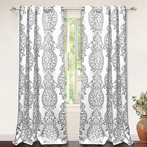DriftAway Samantha Thermal Room Darkening Grommet Unlined Window Curtains Floral Damask Medallion Pattern