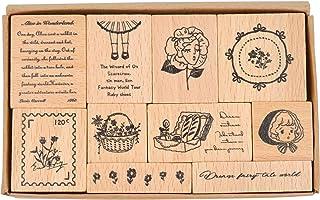 MissOrange『木製ゴム印セット』いちご うさぎ くま 英字 クリエイティブスタンプセット クラフトカード スクラップブッキング 手帳用 10個セット M-63 (childhood dream)