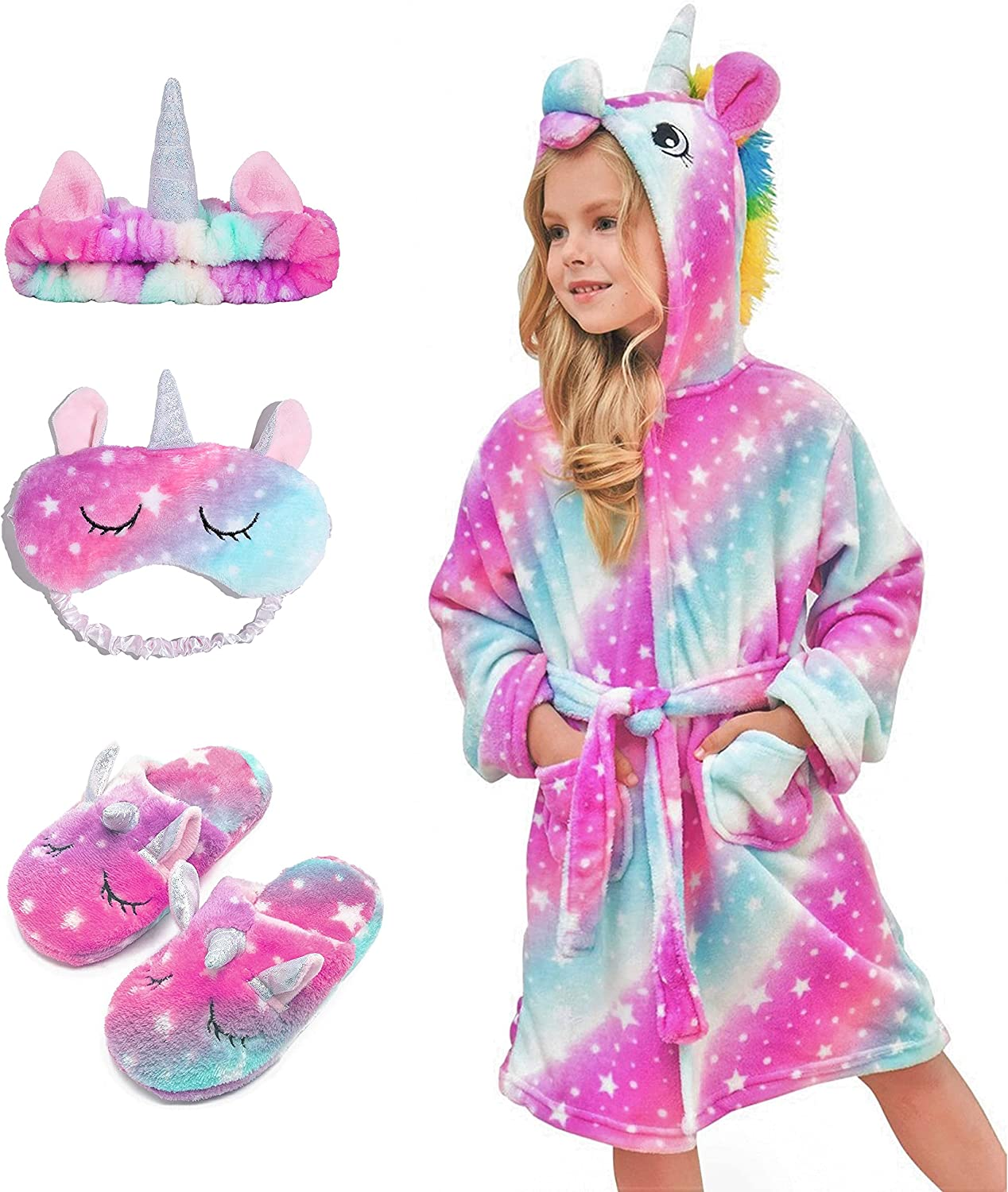 HulovoX Unicorn Hooded Bathrobe Slippers with Industry No. 1 Trust Matching