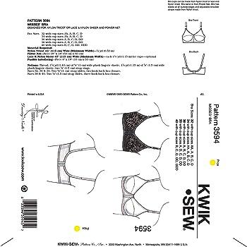【KWIK SEW】女性用ブラジャー型紙セット サイズ:XS-S-M-L-XL *3594