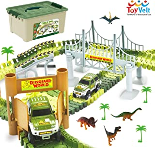 ToyVelt Dinosaur Toys Race Track Toy Set - 206 Pieces Road Race-Flexible Track Set - Create a Road Toy Dinosaur World For Christmas & Birthday Gift For Boys & Girls Ages 3,4,5,6, Years Old and up