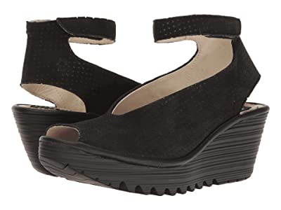 FLY LONDON Yala Perf (Black Cupido/Mousse) Women