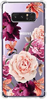 KIOMY Galaxy Note 8 Case for Women Clear with Cute Flowers Design Shockproof Protective Case for Samsung Galaxy Note 8 Floral Cell Phone Back Cover Girls Flexible Slim Fit Rubber Cases