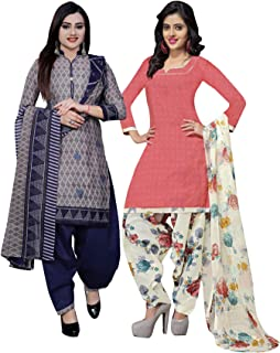 Rajnandini Women's Grey And Peach Cotton Printed Unstitched Salwar Suit Material (Combo Of 2) (Free Size)