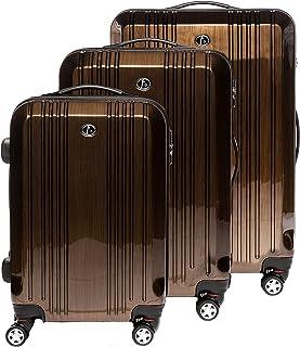 FERG/É Set 3 valises Voyage Rigide l/éger Milano Ensemble de Bagage Trolley 4 roulettes pivotantes Beige