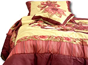 Tache Home Fashion Quilted Floral Patchwork Red Rubies Thin Light Weight Medallion Comforter Bedspread set, Queen