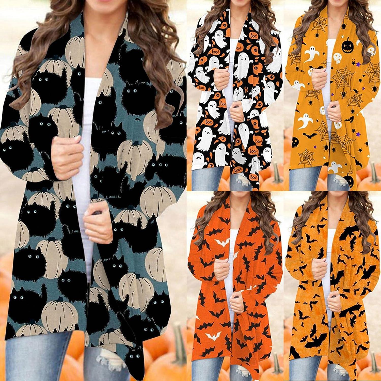 felwors Halloween Cardigan for Women,Women's Pumpkin Long Sleeve Graphic Coat Lightweight Knitted Open Front Cardigans