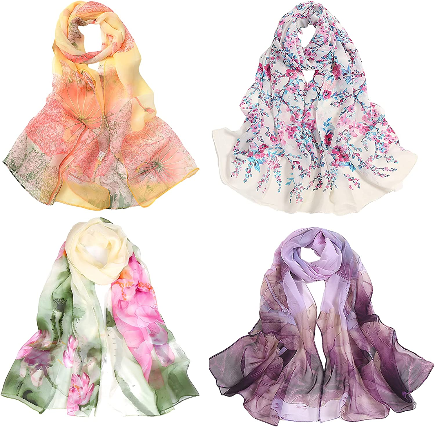 Pack of 4 Chiffon Floral Scarf for Women Fashion Shawls Wraps Lightweight Large Neck Scarves