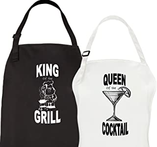 Let the Fun Begin King & Queen Aprons, His Hers Mr Mrs Wedding Engagement Gifts for Couples Bridal Shower Kitchen Gift Set for Hubby Wifey