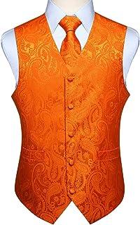 HISDERN Hommes Gilet Paisley Floral Jacquard Cravate Poche Carre Mouchoir Gilet Costume Ensemble