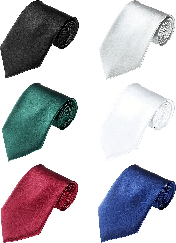 LilMents 6 Pack Mens Classic Plain Solid Color Formal Necktie Tie Set