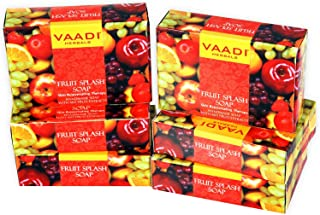 Vaadi Herbals Super Value Fruit Splash Soap with Extracts of Orange, Peach, Green Apple and Lemon, 75gms x 6