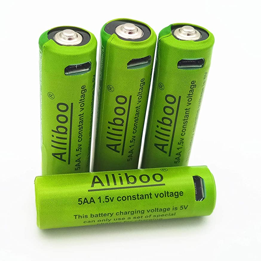 Alliboo USB Rechargeable Lithium Batteries 5AA Battery-Li-ion Battery USB Cell Long-Lasting Backup Power Pack Rechargeable with Micro-USB Charging Cable (4 Pack)-1.5V 1500mAh