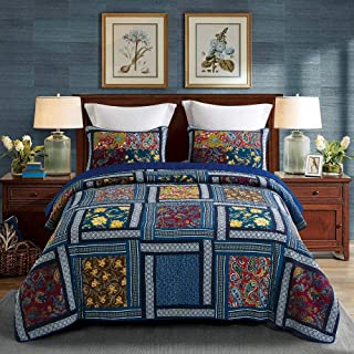 DECMAY 3 Piece Boho Real Patchwork 100% Cotton Bedspread Queen Deep Blue Vintage Plaid Floral Daybed Bedding Light Weight Reversible Quilt Luxury Matelasse Bed Coverlet Set with Shams