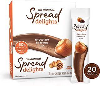 Spread Delights Single-Serve Chocolate Hazelnut Spread - Great on your Favorite Snacks & Pastries (20 Count Carton)