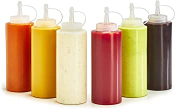 Plastic Squeeze Bottles – 6-Pack Multipurpose Squirt Bottles For Condiments, Sauce, Dressing, More – Reusable Plastic Containers With Lids, BPA Free, Dishwasher Safe by Swizzle Bottles, 12 Ounce